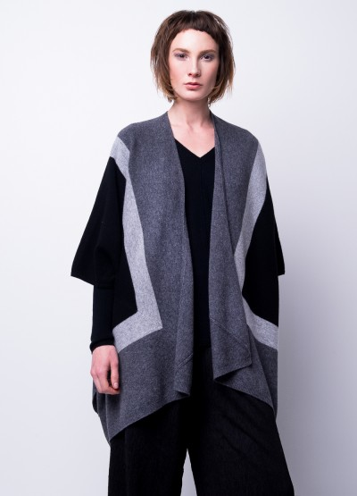Oversize colour block poncho cardigan - 30% Off