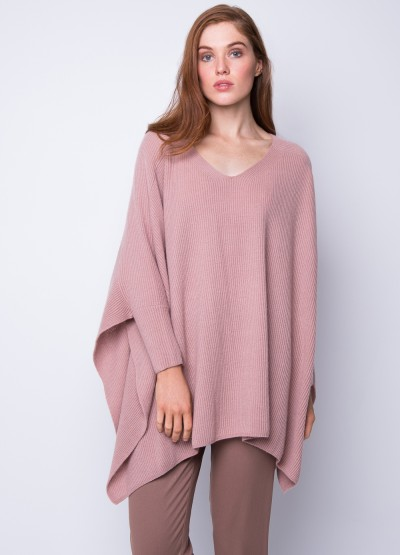 Oversize rib knit poncho - Dusty rose