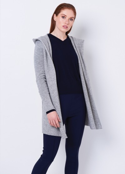 Hoodie buttonless coat - light grey