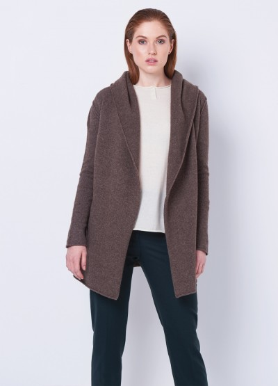 Hoodie buttonless coat - Chocolate