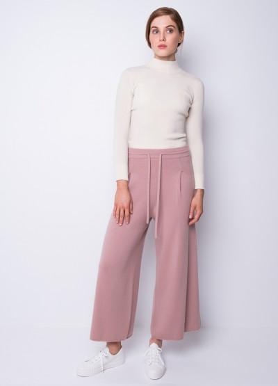 Draw string wide leg trousers in dusty rose