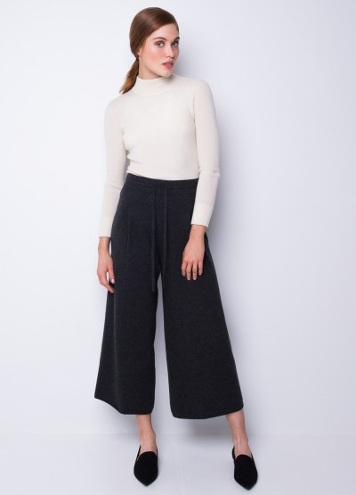Draw string wide leg trousers in charcoal