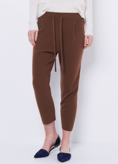 Cashmere tapered pants - tan