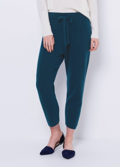 Cashmere tapered pants - dark teal