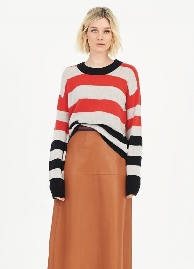 Striped puff sleeve crew neck pullover - Poppy red