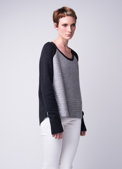 Arrow knit slouchy pullover