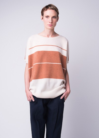 Cashmere LOOSE FIT COLOUR BLOCK CREW