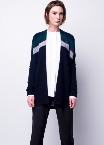 Open front cashmere long cardi