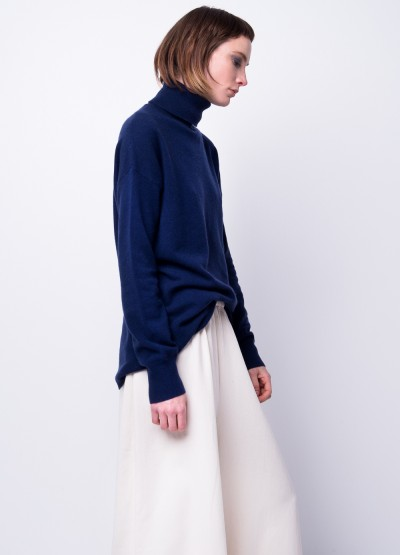 Cashmere silhouette turtleneck pullover in navy - 20% Off