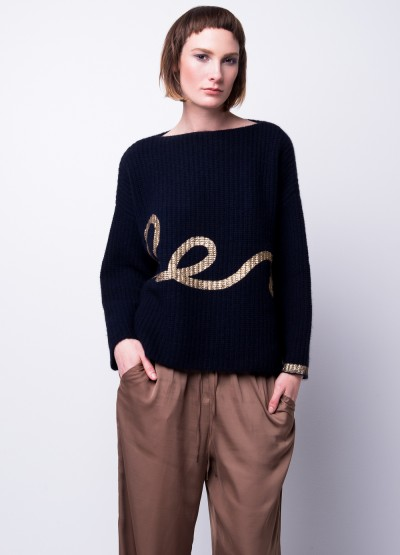 Metallic print chunky ribbed pullover - 30% Off