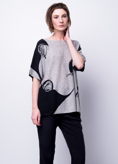 'Flying thread'Ink print pullover