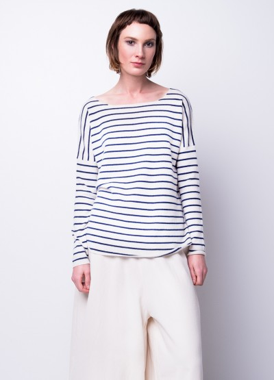 Last size - Drop shoulder striped cashmere pullover