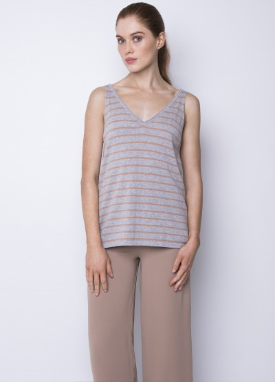Striped cotton cashmere tank - 40% off