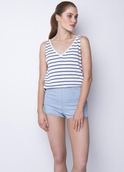 Striped cotton cashmere tank - White+blue - 40% off