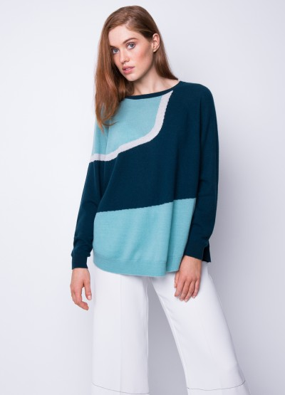 Forest intarsia pullover