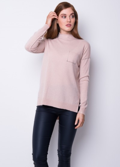 Split side funnel neck pullover - blush