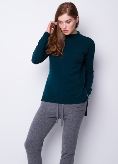 Split side funnel neck pullover - Dark teal