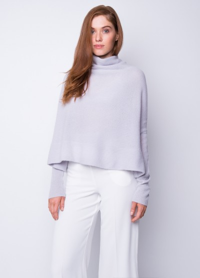 Rib knit cowl neck crop top