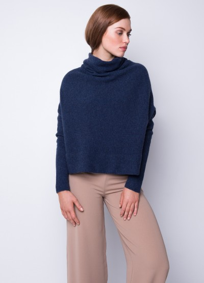Rib knit cowl neck crop top - denim blue