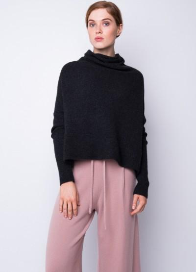 Rib knit cowl neck crop top - black