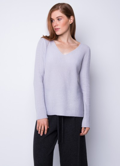 Rib knit graceful v neck top - 30% Off