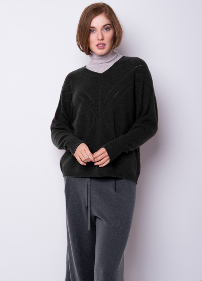 Pointelle knit loose fit pullover - Black