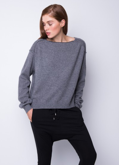 Reverse ant stitch slouchy top in grey