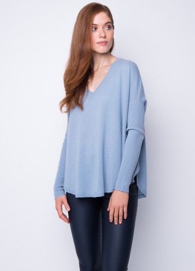 Batwing loose fit pullover dusk blue