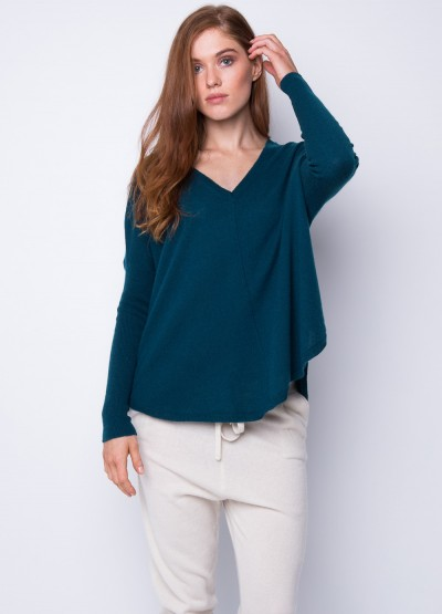 Batwing loose fit pullover dark teal