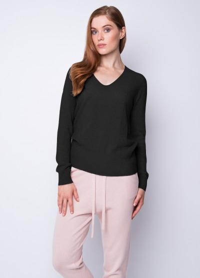 Smitten super fine v neck pullover - Black