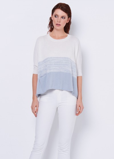 Poncho cut crop sleeve top - Antarctic blue - 30% Off