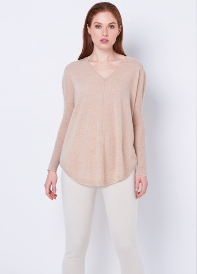 Batwing loose fit pullover - Light camel