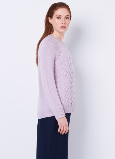 Chunky cable knit pullover - Soft Lilac