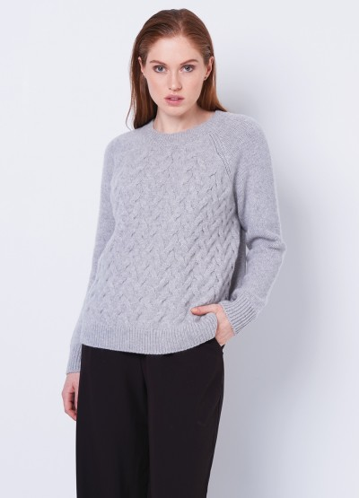 Chunky cable knit pullover - Light grey
