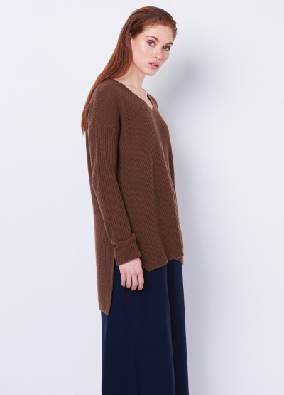 Cashmere split side V neck rib knit pullover - Tan