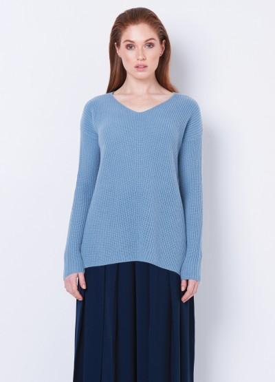 Split side V neck rib knit pullover