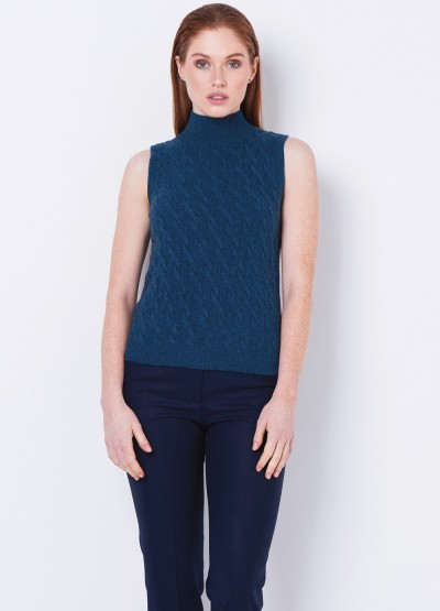 Cable knit split side vest - Mineral blue