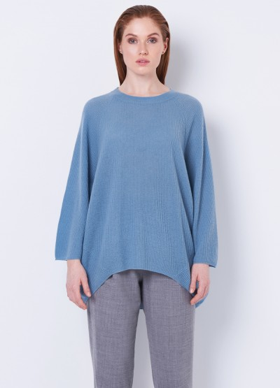 Oversize rib knit pullover - cloudy blue