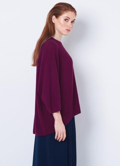 Oversize rib knit pullover -Bordeaux