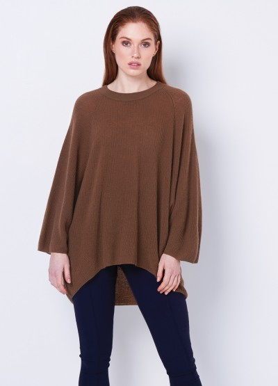 Oversize rib knit pullover - tan