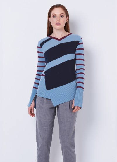 Cashmere asymmetric double V neck top