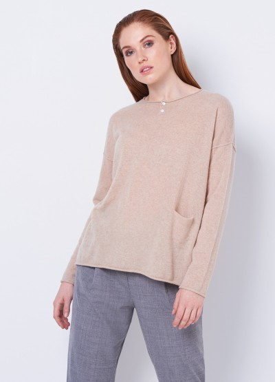 Cashmere grandpa Tee - light camel