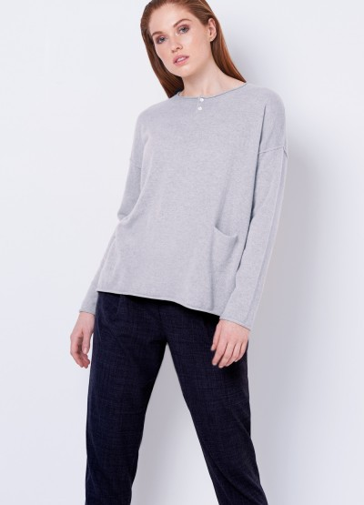 Cashmere grandpa Tee - Light grey