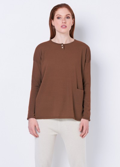 Cashmere grandpa tee in tan