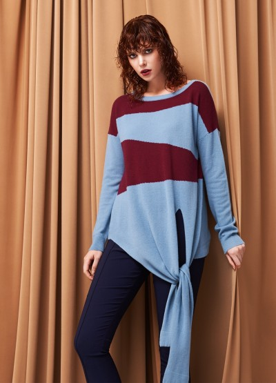 Cashmere tie-band pullover