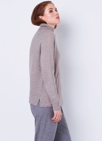 Elbow patch high neck pullover