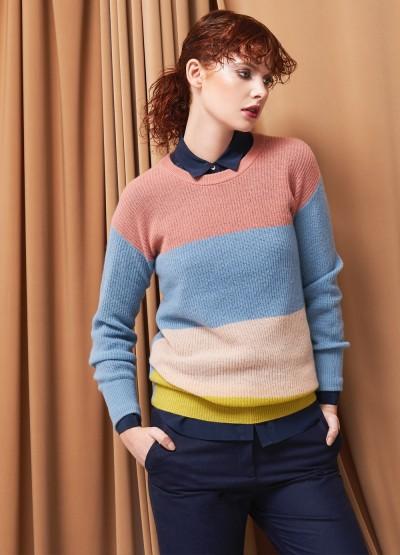 Cashmere colour block light as cloud pullover