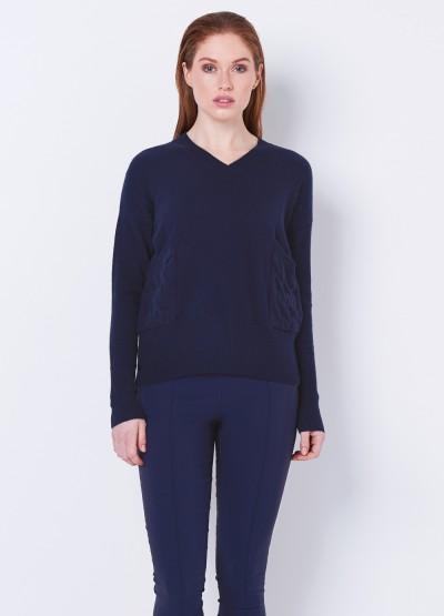 Cable pocket V neck pullover - Navy