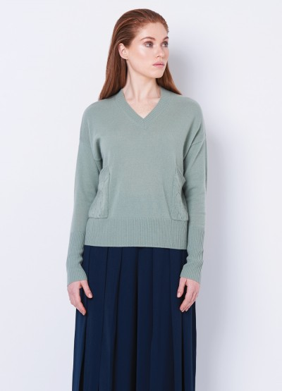 Cable pocket V neck pullover - Succulent