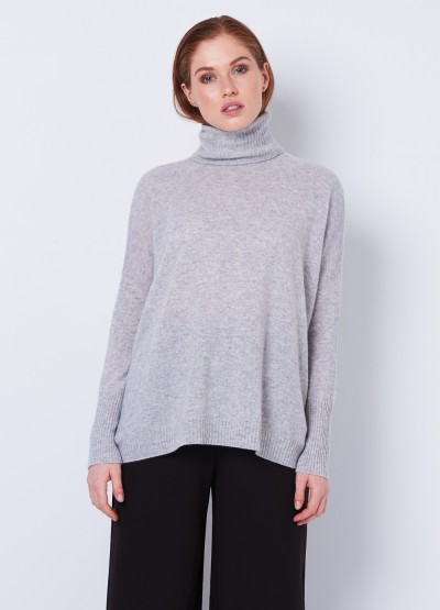 Oversized soft polo neck pullover - grey